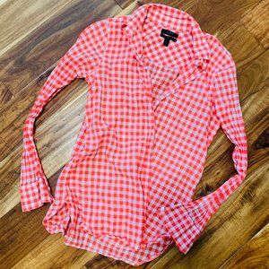 Red & White Gingham Long sleeve button down shirt